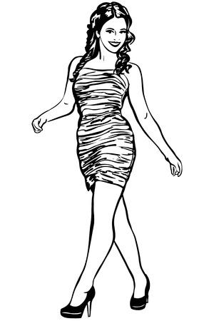 calcanhares: esboço preto e branco da menina morena de saltos altos