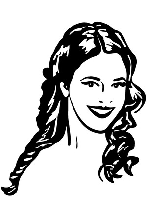 beautifu: black and white sketch of beautiful brunette girl smiling