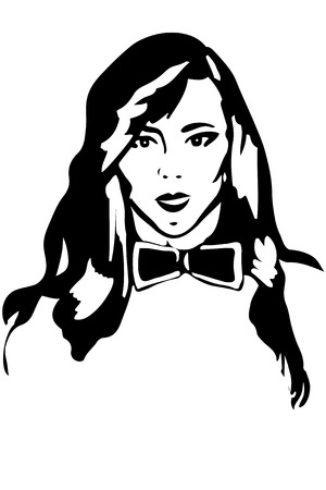 one girl only: black and white sketch of a girl brunette in a tie butterfly