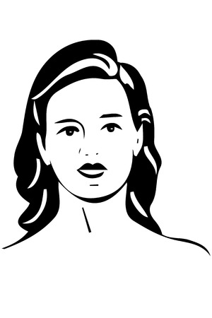 black and white sketch of a beautiful girl with brunette hair Illustration