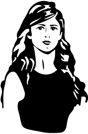 brunette: black and white sketch of a beautiful girl with brunette hair Illustration
