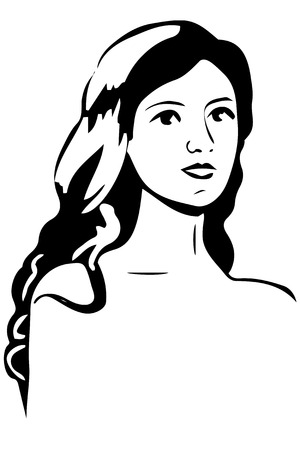 one girl only: black and white sketch of a beautiful girl with brunette hair Illustration