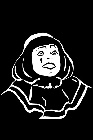 mime: black and white vector sketch white mime smiling Illustration