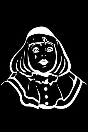 big eyes: black and white vector sketch white mime with big eyes Illustration