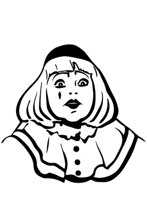 mime: black and white vector sketch white mime with big eyes Illustration