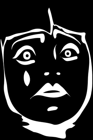 pierrot: black and white vector sketch of a sad white clown Illustration