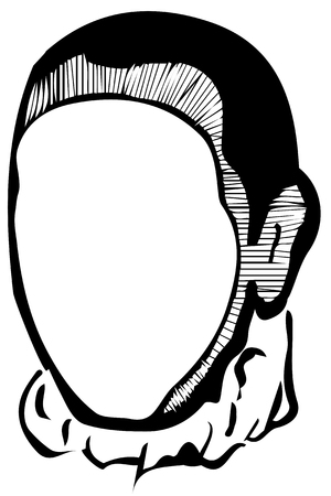 forehead: black and white vector sketch of a white mans face without eyes