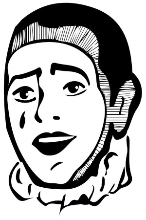 mimo: blanco y negro dibujo vectorial mimo blanco sonriente Vectores