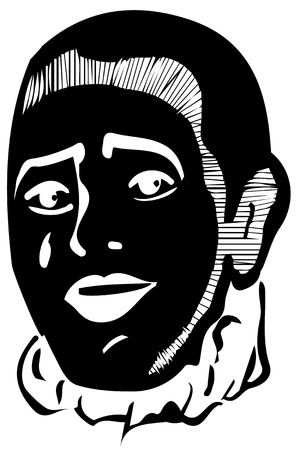 mime: black and white vector sketch mime smiling Illustration