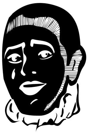 mimo: sonriente blanco y negro mimo dibujo vectorial