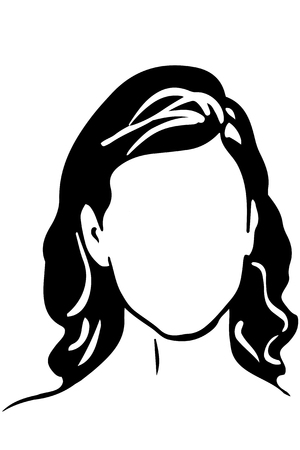 chins: black and white vector sketch of an oval face girl Illustration