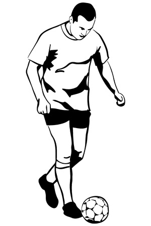 leg warmers: black and white vector sketch soccer soccer player in action Illustration