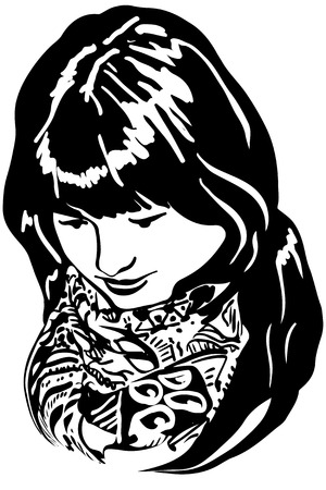 eyes looking down: black and white vector sketch of a beautiful girl put her head down Illustration