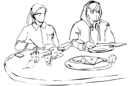 black and white  sketch of man and woman eating pizza at a cafe