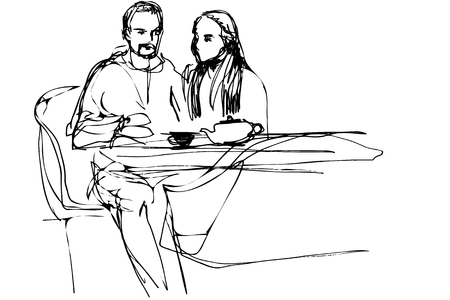 black and white sketch of a young man and woman drinking tea in a cafe