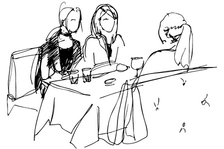 bocetos de personas: bosquejo blanco y negro de las tres chicas en una mesa en un café de vino pyut
