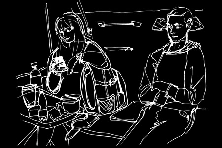 train table: black and white sketch of man and woman at a table in the coupe wagon Illustration