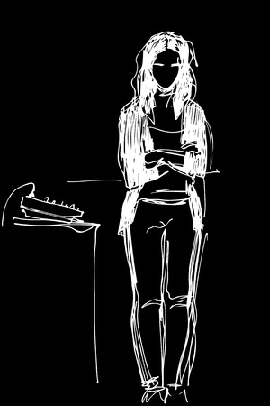 black and white sketch of a girl standing at the mixing console