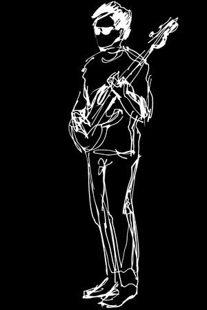 black and white sketch of a guy with glasses with an electric guitar Illustration