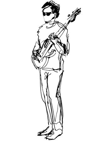 solo: black and white sketch of a guy with glasses with an electric guitar Illustration