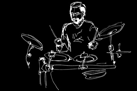 pop musician: black and white sketch of a musician with a beard plays pop drums Illustration