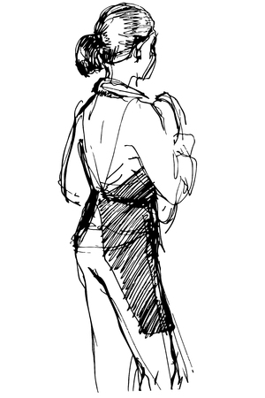 shack: black and white sketch of employee cafe girl in apron