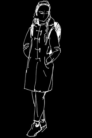white coat: black and white sketch of a girl in a coat with a backpack Illustration