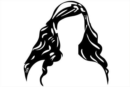hair mask: black and white sketch of a white mans face without eyes Illustration