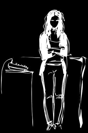 black and white vector sketch of a girl standing near a mixing console