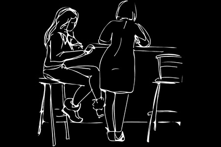 woman back of head: black and white vector sketch of two young women in a cafe on the high stools