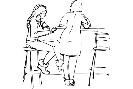 woman eating: black and white vector sketch of two young women in a cafe on the high stools
