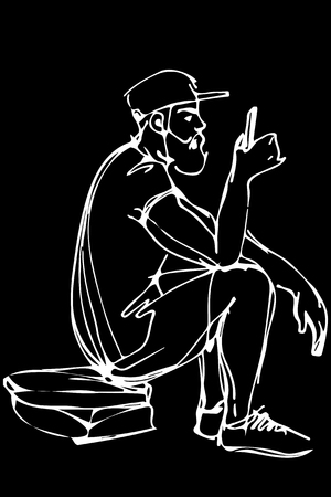 black and white vector sketch of a bearded man wearing a cap and shorts looks in the phone Illustration