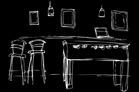 slot in: black and white vector sketch of a slot machine in a cafe near the high chair