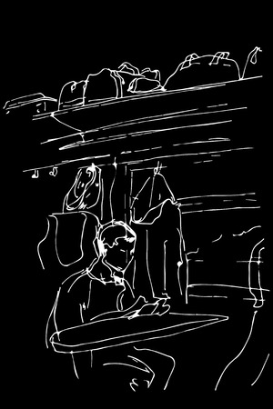 black and white vector sketch of a guy sitting in a railway carriage near the window