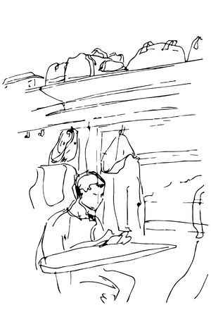 train table: black and white vector sketch of a guy sitting in a railway carriage near the window