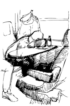 train table: black and white vector sketch of a young man sleeping on a table by the window in the train locomotive Illustration