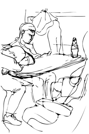 backrest: black and white vector sketch of a young man sleeping on a table by the window in the train locomotive Illustration