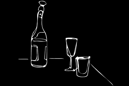 black and white vector sketch of a champagne bottle and glasses of wine on the table
