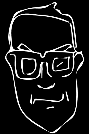 black and white vector sketch of the face of an adult male with glasses