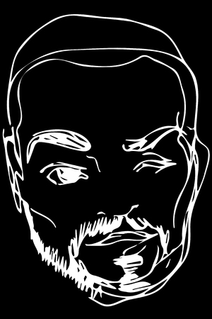 cunning: Black and white vector sketch of the face of an adult male with a beard Illustration