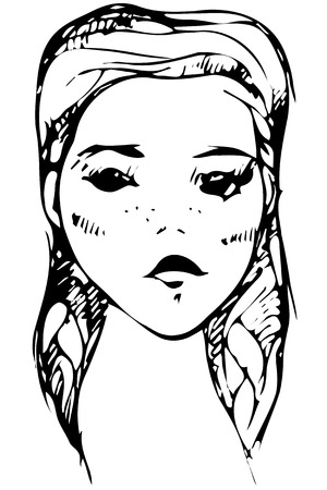 Black and white vector sketch of the face of a beautiful young girl