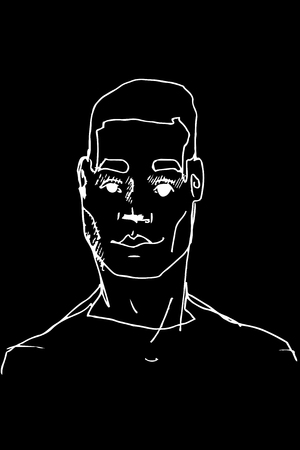 black and white vector sketch of the face of an adult male