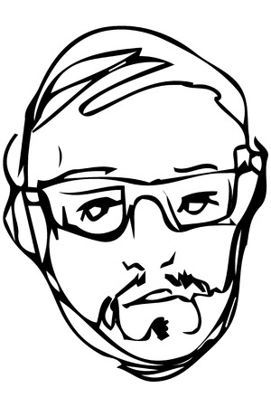 black and white vector sketch of the face of an adult male with a beard wearing glasses Illustration