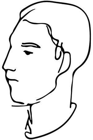 brow: Black and white vector sketch of the face of a handsome young man