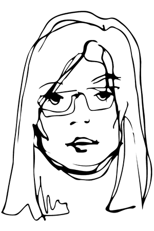 Black and white vector sketch of a young beautiful blonde girl with glasses Illustration