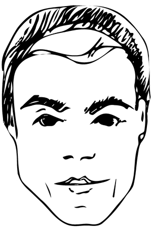 Black and white vector sketch of the face of a handsome young man.