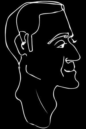 Black and white vector sketch of the face of an adult male.
