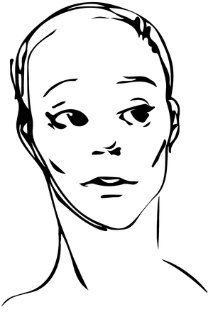 Black and white vector sketch of a young man looking away