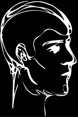 Black and white vector sketch of a young man profile