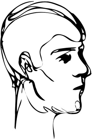 brow: Black and white vector sketch of a young man profile